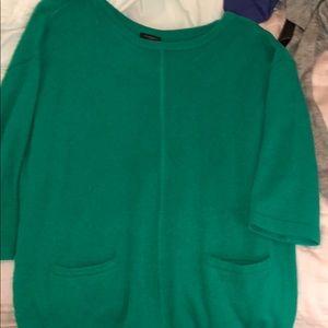 ann taylor green quarter sleeved sweater